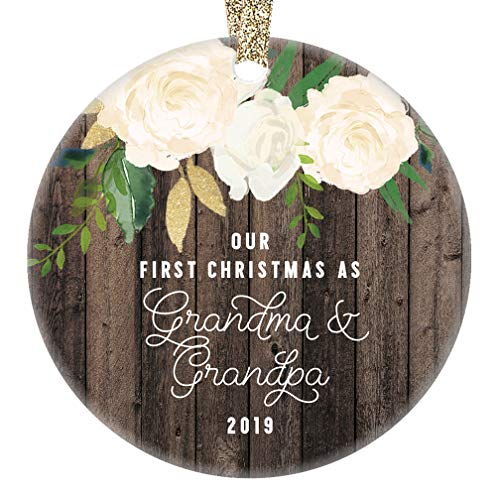 Our First Christmas as Grandma & Grandpa Ornament 2019 New Grandparents Gift for Grandmother & Grandfather Holiday Keepsake Present 3