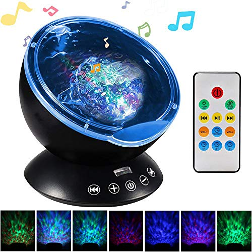 Ocean Wave Projector, Night Light Projector, LBell Sleep Sound Machine with Remote, Music Player, Timer, Room Decor for Infant Baby Kids, Nursery Living Room and Bedroom (12LED Black New)