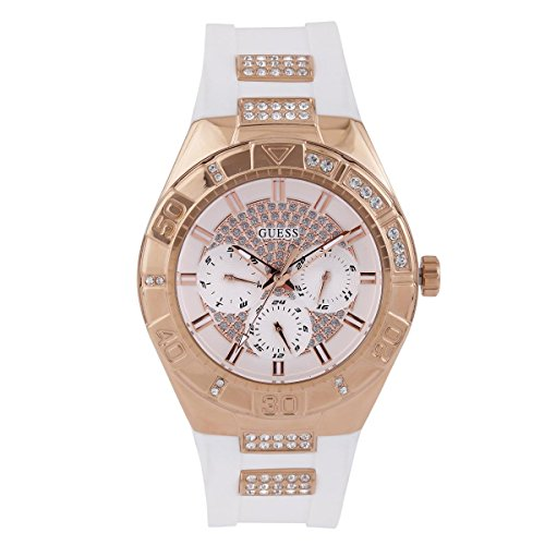 Guess W0653L4 Women's Luna Crystal White Dial Rose Gold Steel & White Silicone Strap Watch