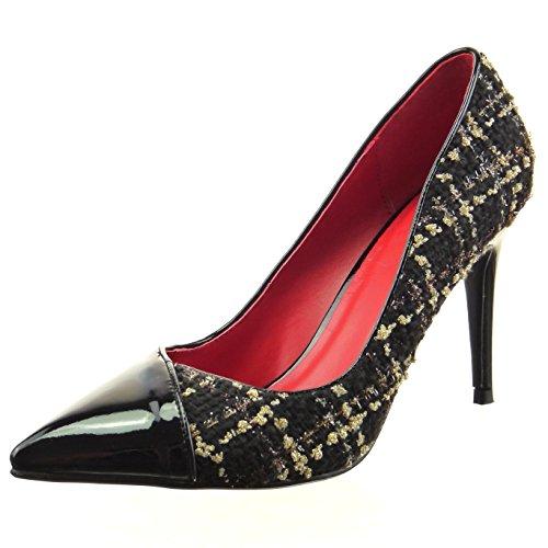 Sopily - Scarpe da Moda scarpe decollete stiletto bi-materiale alla caviglia donna lucide verniciato Tacco Stiletto tacco alto 9 CM - Nero