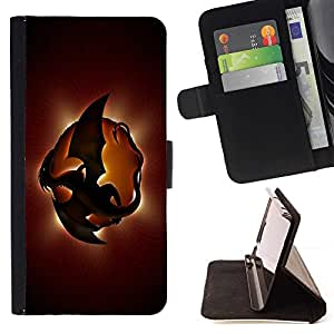 DEVIL CASE - FOR HTC One M7 - Dragon Planet - Style PU Leather Case Wallet Flip Stand Flap Closure Cover