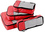 AmazonBasics 4-Piece Packing Cube Set - Small, Medium, Large, and Slim, Red