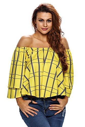 OUR WINGS Women Plaid Print Layered Sleeves Yellow Off Shoulder Top L