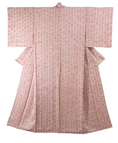 リサイクル 着物 小紋 元橋範人 正絹 袷 絞り染め 縞模様 裄65cm 身丈158cm