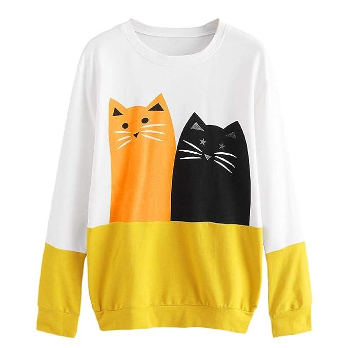 fa6798ccbf48 Bluse Kolylong Damen Elegant Katze Muster Langarm Sweatshirt Mädchen ...