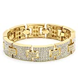 Mens Gold Tone H Thick Link Iced Out Clear Cz Stones Hip Hop Bracelet 9'' Inch