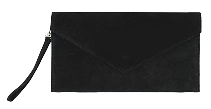 Bolso de fiesta para mujer, de Benagio, de ante italiano, con forma de sobre, tipo clutch: Amazon.es: Equipaje