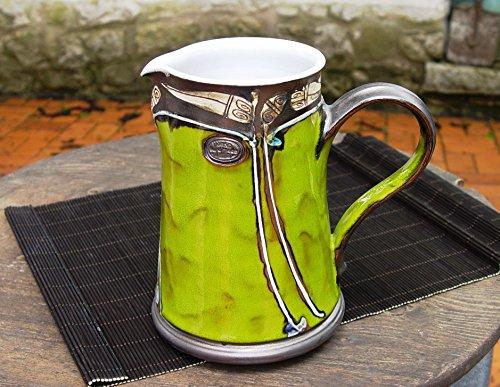 pottery-water-pitcher-green-wheel-thrown-ceramic-jug