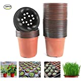"Oubest Plastic Plant Nursery Pots 4"" 50 pcs Reusable for Seed Starting Seedlings Cuttings Transplanting Flower Plant Pots"