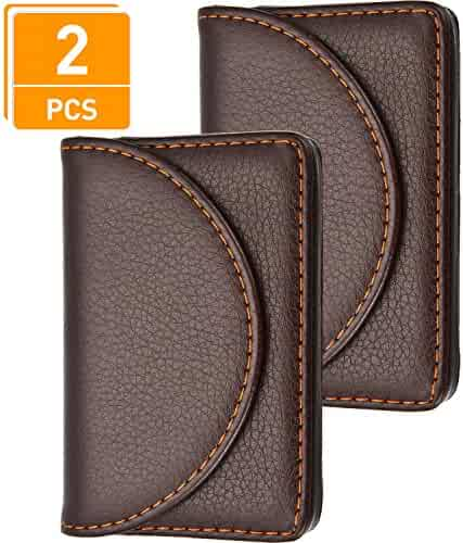 a55038653983 Blulu 2 Pieces PU Leather Business Card Cases Card Holder Wallet Name Card  Case with Magnetic
