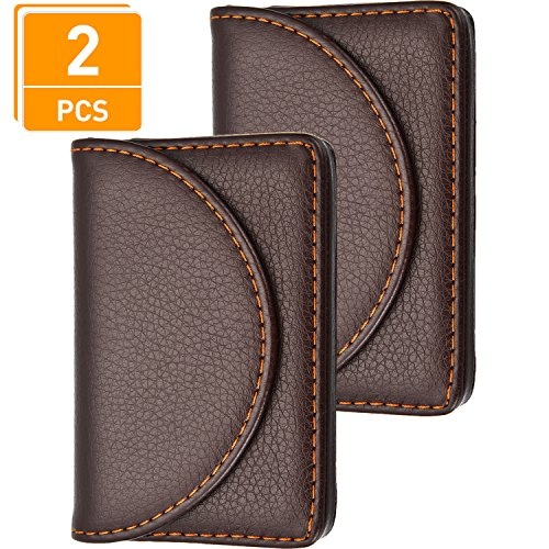 Business Holder Leather Card Case (Blulu 2 Pieces PU Leather Business Card Cases Card Holder Wallet Name Card Case with Magnetic Shut for Men and Women (Coffee))