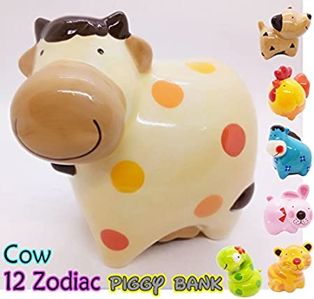 Variation 5.1 x 5 x 4.4 inches WitnyStore Piggy Bank 12 Zodiac Signs Ceramic Handmade Coat Paint Decor Personalized Collectible Money Saving Coin Bank for Kids
