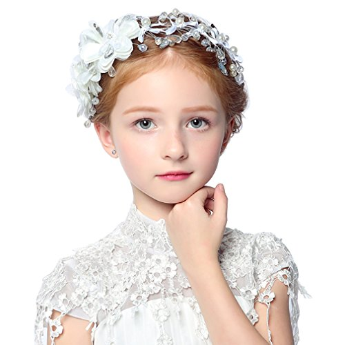 DreamYo Headdress Flowers Crystal Pearls Rhinestones Beading Beautiful Girls Hair Accessories Princess Hair Jewelry Ceremony performce Prom Party Wedding 9 Styles (DH)