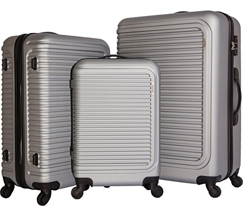 cheergo Luggage 3 Piece Set Suitcase ABS Material PC Hardside 20 24 28 Spinner Silver by cheergo