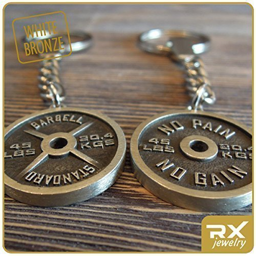 (NO PAIN NO GAIN Fitness Keychain For Bodybuilding Powerlifting Weightlifting Athletes Bronze Weight Plate Barbell Standard Key Ring)