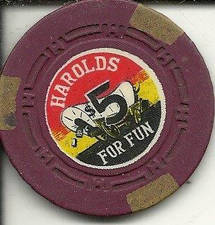 ($5 harold's club for fun obsolete casino chip reno nevada vintage)