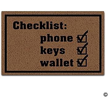 Artswow Doormat Entrance Floor Mat Checklist Phone Keys Wallet Door Mat with Non Slip Rubber Backing  sc 1 st  Amazon.com & Amazon.com: Custom Checklist Phone Keys Door Mat Machine-washable ... pezcame.com