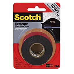 Scotch 414/DC Extreme Mounting Tape, 1 by 60-Inch, Black