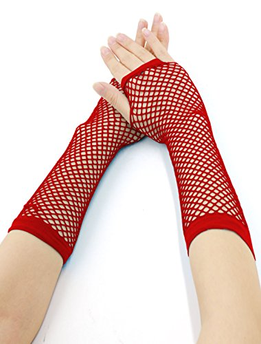 Allegra K Women Elbow Length Fingerless Fishnet Gloves 2 Pairs Red
