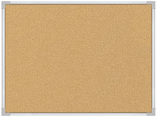 Best-Rite 4 x 6 Feet VT Logic Natural Cork Bulletin Board, Silver Ultra Trim (E3019G) by Balt