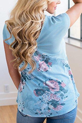 Mujeres Verano Floral Patchwork Con Cuello En V T - Shirt Tops Blue