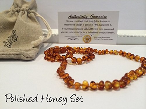 Teething Necklace 12.5 inches AND Bracelet 5.5 inches Baltic Amber for Babies   - Baby, Infant, and Toddlers will all benefit. Polished Anti