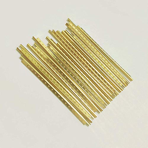 Fret Gold - Vencetmat 19Pcs Brass Straight Frets for Classic Guitar Fingerboard Fret Wire Replacing Gold
