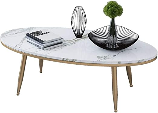 Y Leah Marble Coffee Table Oval Simple Modern Living Room Coffee Table Gold Wrought Iron Frame 80 40 45 Cm Amazon Co Uk Kitchen Home