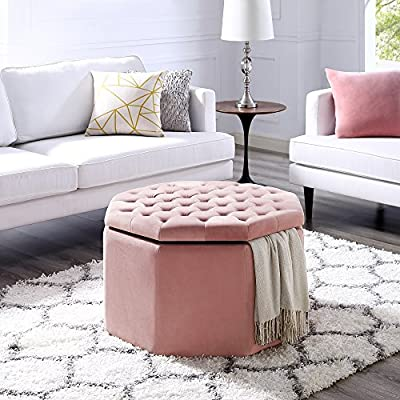 Silvia Velvet Storage Ottoman - Cocktail Coffee Table | Upholstered Tufted | Modern Octagon | Inspired Home