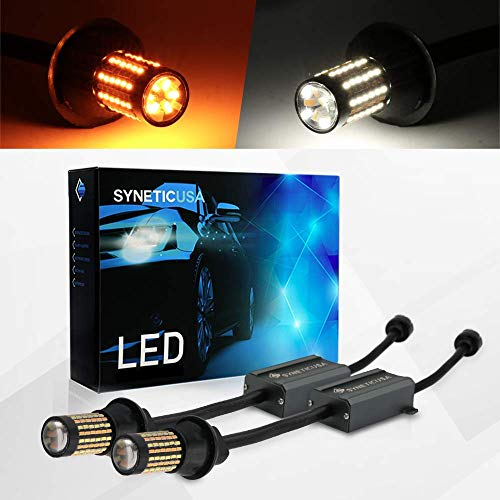 (Error Free Canbus Dual Color Switchback LED Turn Signal Light Bulbs No Hyper Flash All in One Built In Resistors (Turn Signal-Amber,)