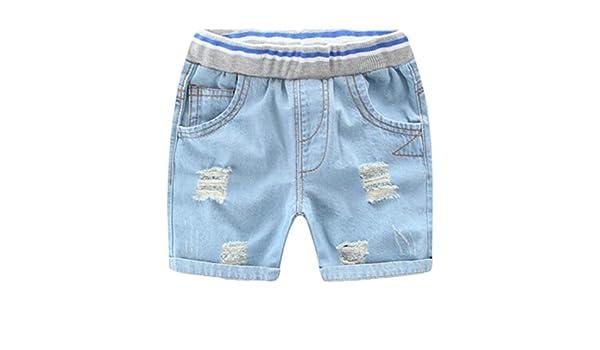 Cromoncent Boy Denim Short Summer Casual Stretch Loose Fit Elastic Wasit Shorts