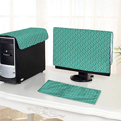 Auraisehome One Machine LCD Monitor Keyboard Cover Dalmatian Dog Fur Inspired Little Polka Dots Circles Rounds Image Jade Green and dust Cover 3 Pieces /17