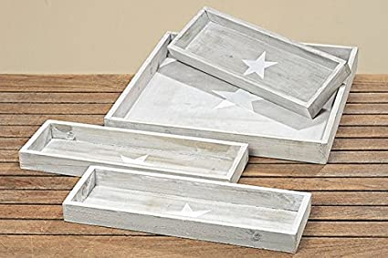 Tamia-Home 1515300 4 bandejas decorativas de madera para velas, madera con estrella blanca