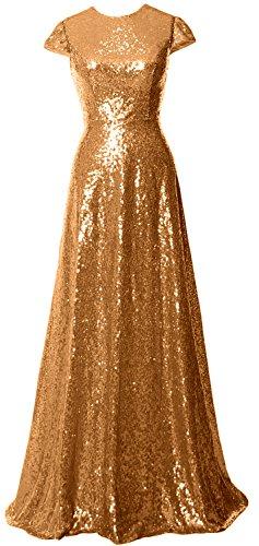 MACloth Women Cap Sleeve Sequin Long Bridesmaid Dress Wedding Party Evening Gown Gold