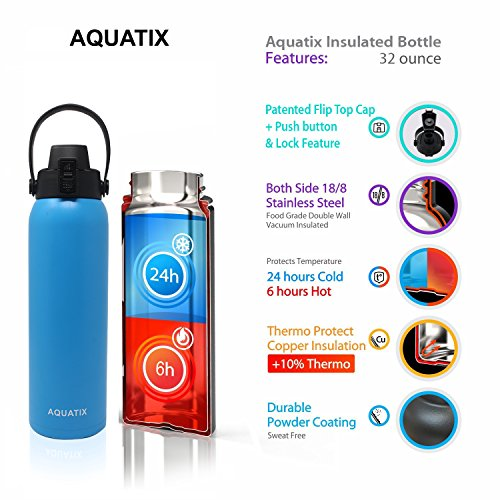 New Aquatix (Blue, 32 Ounce) Pure Stainless Steel Double Wall Vacuum Insulated Sports Water Bottle Convenient Flip Top Cap with Removable Strap Handle - Keeps Drink Cold 24 hr/Hot 6 hr