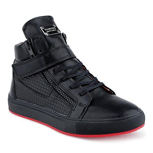 FiveSix Herren Sportschuhe High Top Sneaker Genoppt Reißverschluss Basketballschuhe Nieten Freizeitschuhe Schuhe Schwarz-2
