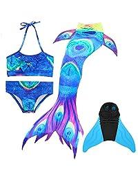 BESTYLING 4PCS Girls Mermaid Tail Swimsuit Princess Bikini Swimwear Set