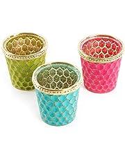 Logbuch-Verlag - Portavelas de té (cristal), diseño oriental, color rojo, turquesa, verde y dorado, Pink, Türkis, Grün, Gold, 3 unidades