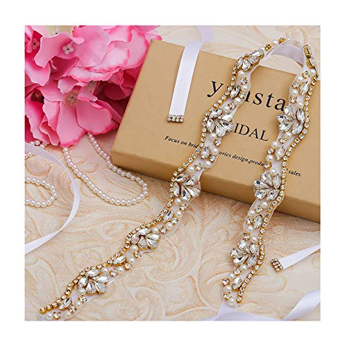 yanstar Gold Rhinestone Crystal Pearls Wedding Bridal Belts with White Ribbon Sashes for Bridal Bridesmaid Gowns