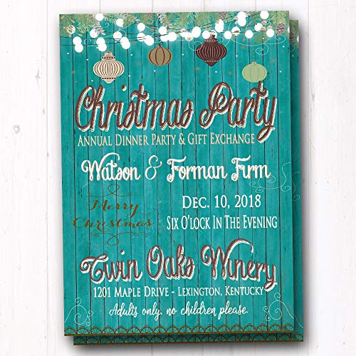 Corporate Holiday Party Invitations - Non-Traditional Blue Christmas Party Invitations - Company Corporate Staff Holiday Party Invites - Supper Club Holiday Invites - Dinner Party Invitations - Set of 20 Printed Invites with Envelopes