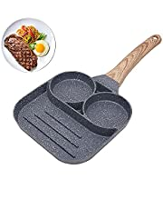 Nonstick Egg Frying Cooking Pan Divided Grill Frying Pot All-In-One Omelette Pan Breakfast Cookware 3 Section Square Grill Pan Divided Frying Pan Hamburger Frying Pan Fried Egg,Pancake