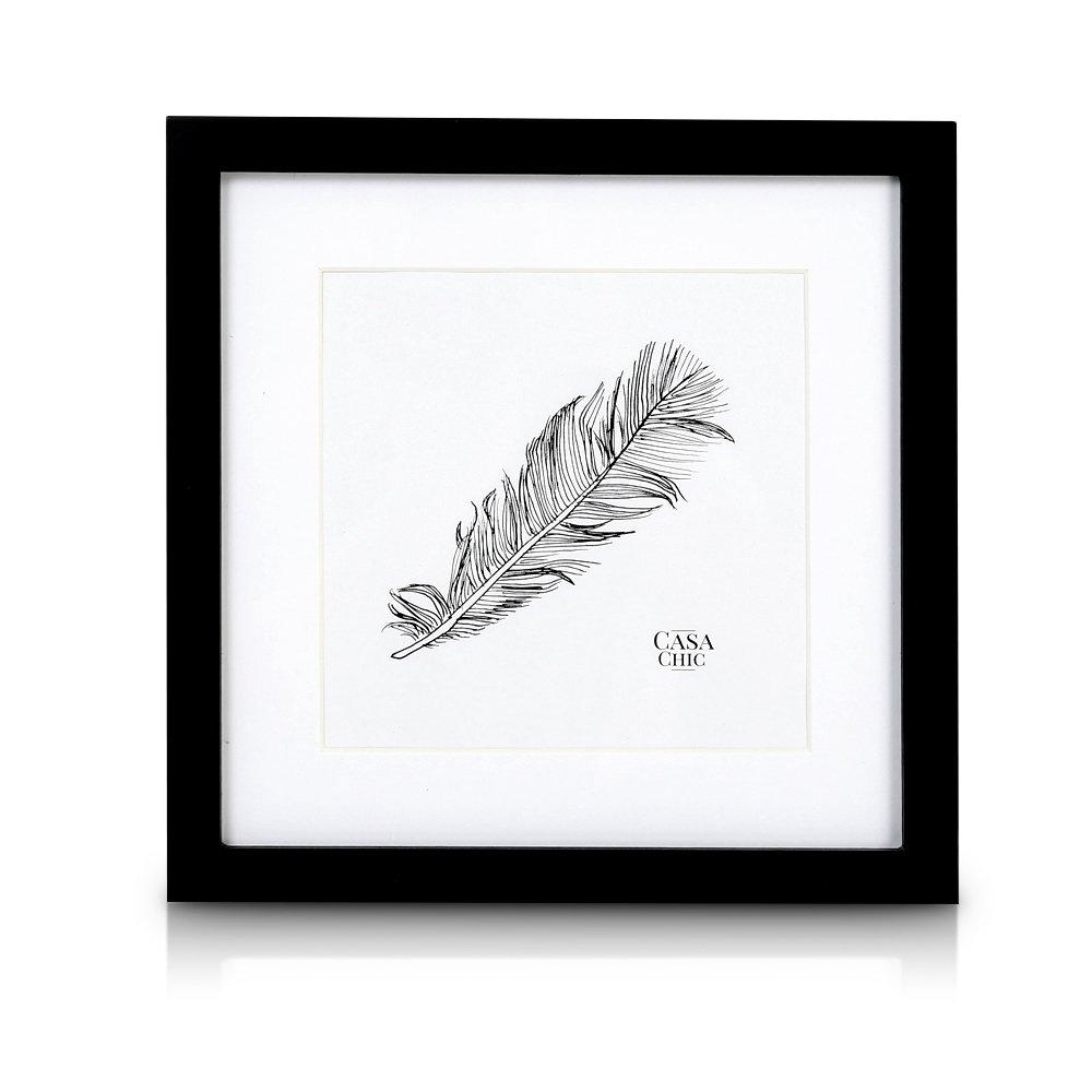 Classic by Casa Chic Cadre Carré en Bois Massif pour Photos 25 x 25 cm (10 x 10 Pouces) - Vitre en Verre - Profil de Cadre 2 cm ! - Noir product image