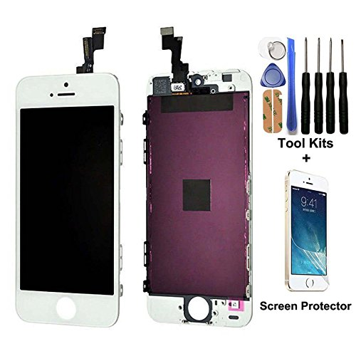 CELLPHONEAGE For iPhone 5S LCD Replacement Screen Display Glass Touch Screen Digitizer Assembly kit with Free Tool Kits + Free Screen protector - Scratched Fixing Glasses