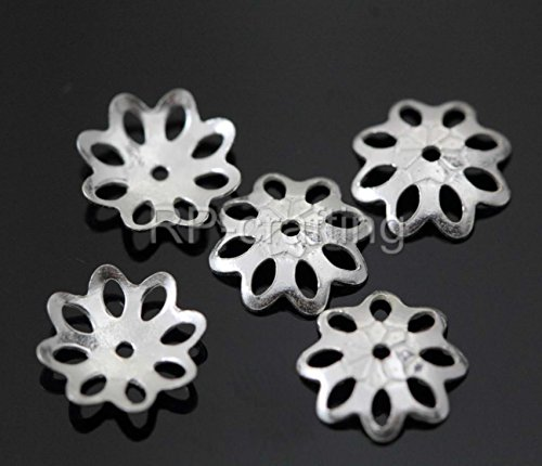 50pcs Genuine 925 Sterling Silver Bead Caps 8mm Flowery Round Bead Caps (8mm Sterling Silver Bead Cap)