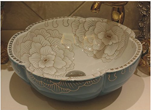 Tempered Glass Bath Vessel Sink And Mixer Faucet Tap,8.18 Vintage Shower Washbasin And Bowl-Shaped Hand Painted Petals