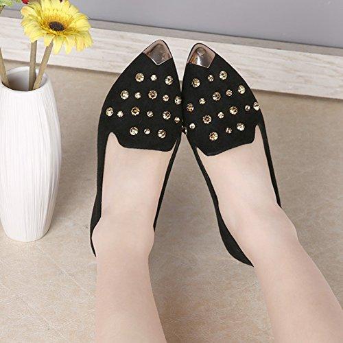 Btrada Womens Penny Mocassins Chaussures Rivet Plat Bout Pointu Bateau Chaussures Glisser Sur Conduite Mocassins Chaussures Noir