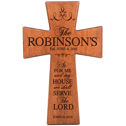 Personalized Wooden Cross (As for Me and My House Cherry Wood Wall Cross Personalized Housewarming Gift By Dayspring Milestones)