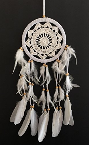 Oma Dream Catcher - Hand Crafted White Lace Hippie Bohemian Style - 6.5