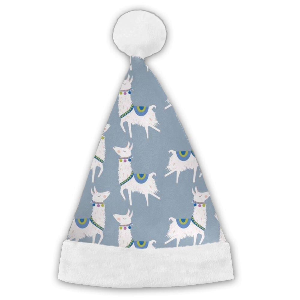 ChengGo Llama Animal Fun Santa Hat  Plush Trim For Unisex Elf Christmas Headwear Birthday