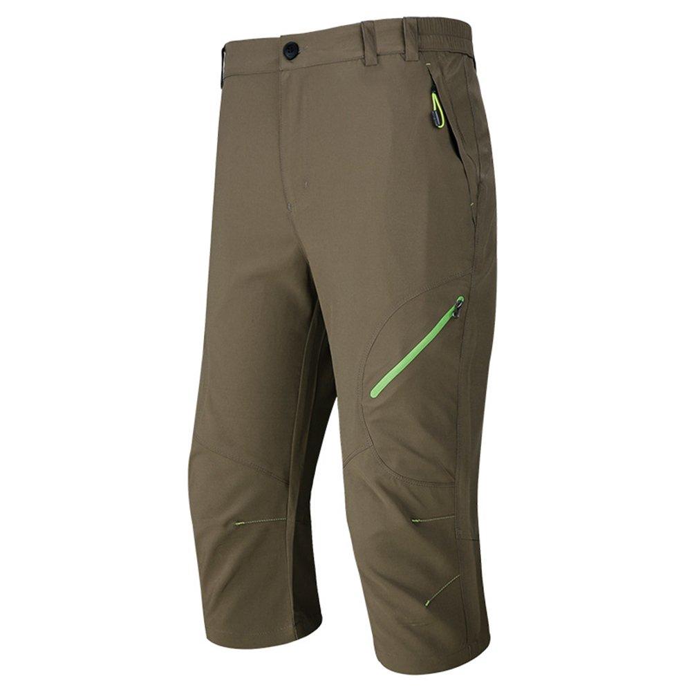 MAGCOMSEN Mens Outdoor Capri Pants Quick Dry Hiking 3//4 Below Knee Shorts with Zipper Pockets